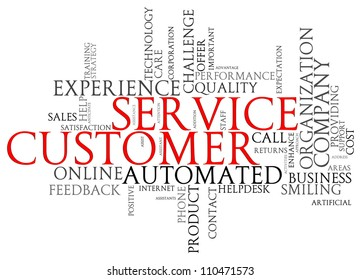 Illustration of customer service words tags