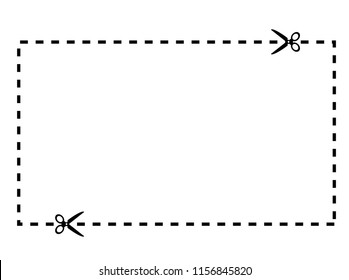 Illustration of a cut out coupon rectangle shape with scissors