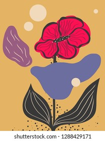 Illustration of cute abstract flower. Pink, blue, violet and grey on ochre background. Surreal concept