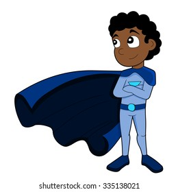 Illustration of cute African American superhero boy wearing blue costume and cape, isolated on a white background