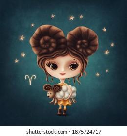 Illustration eines süßen Aries Girls