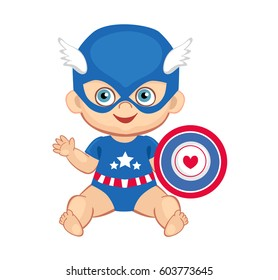 Illustration cute baby boy in the costume of a superhero. Raster copy.