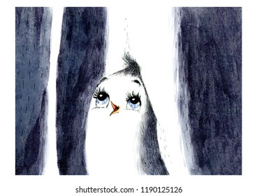 Illustration with a cute baby penguin