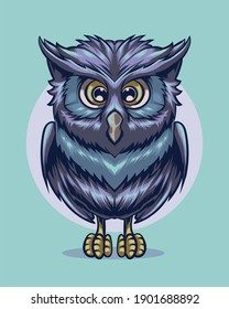 illustration of a cute blue owl with yellow eyes