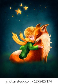 Illustration of a cute boy and the fox