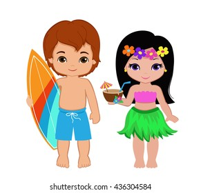Illustration of cute boy with surfboard and Hawaiian girl with cocktail.Raster copy.