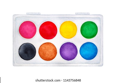 Illustration of cute bright Watercolour Paint Set, eight vibrant classic colours in clean new square box. Symbol of creativity. Hand drawn water color painting on white background, isolated element.