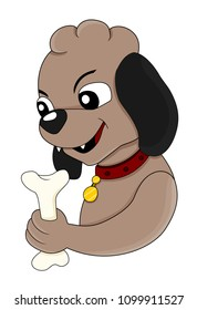 Illustration of a cute brown dog holding a bone, isolated on a white background
