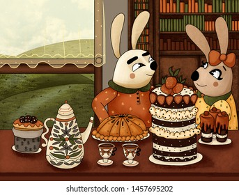 Illustration of cute bunnies and a cozy tea party. - Shutterstock ID 1457695202