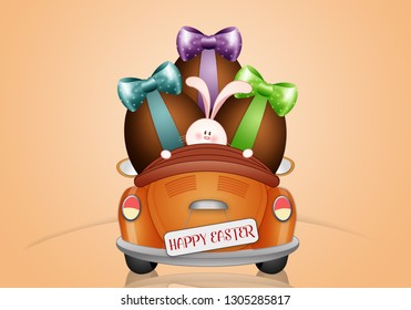 illustration of cute bunny with Easter egg in car