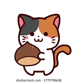 Illustration of the cute calico cat character with a chestnut.