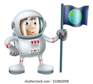 An illustration of a cute cartoon astronaut planting an earth flag