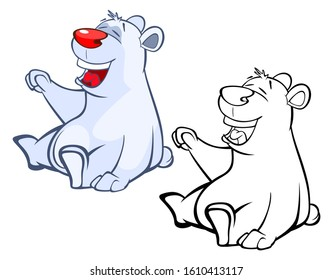 Illustration of a Cute Cartoon Character Polar Bear  for you Design and Computer Game. Coloring Book Outline