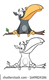 Illustration of a Cute Cartoon Character Raven for you Design and Computer Game. Coloring Book Outline Set