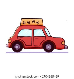 Illustration of a cute cartoon funny red car. Taxi for pets. Print or logo of the transport for children. Element for design, graphics.