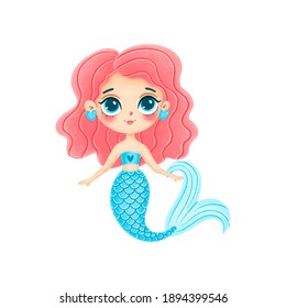 Illustration of cute cartoon mermaid with pink hair isolated on white background