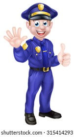 An illustration of a cute cartoon policeman character mascot
