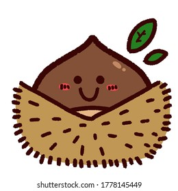 Illustration of the cute chestnut character. Facial expression is smiling.