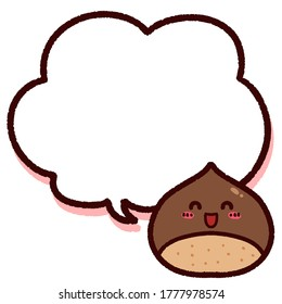 Illustration of the cute chestnut character and speech bubble having a copy space.