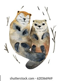 Illustration cute couple otters in love in the watercolor style. Hand-made artwork.