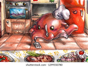 Illustration of a cute flapjack octopus cook in a small kitchen
