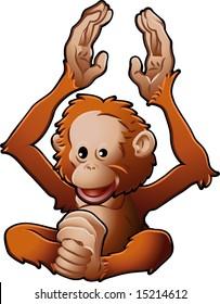 A  illustration of a cute friendly Orangutan