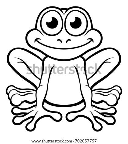 illustration cute frog cartoon character outline stock illustration