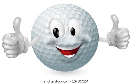 Illustration of a cute happy golf ball mascot man smiling and giving a thumbs up