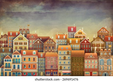 Illustration of  cute houses in sky