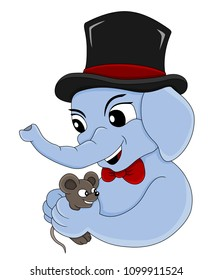 Illustration of a cute little elephant wearing a top hat and a bow-tie, and a brown mouse; isolated on a white background
