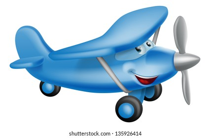 An illustration of a cute little happy cartoon blue prop airplane character