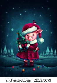 Illustration of a cute little pig with a christmastree
