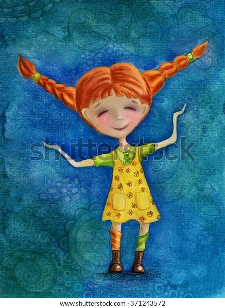 Illustration eines süßen, kleinen, roten, haarigen Mädchens