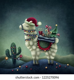 Illustration of a cute llama in santa hat