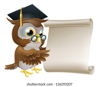 Illustration of a cute owl character in professor's or teacher's mortar board pointing at a scroll document, perhaps a certificate, diploma or other qualification, or just an announcement.