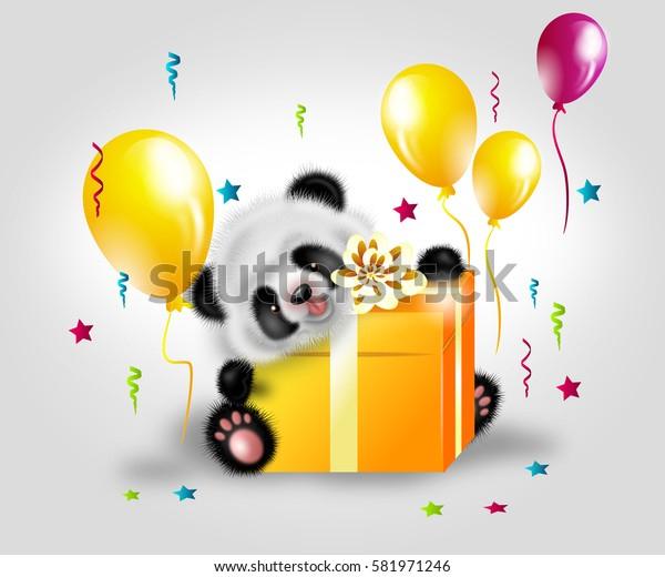 Illustration of cute panda bear with big golden gift decorated with birthday balloons