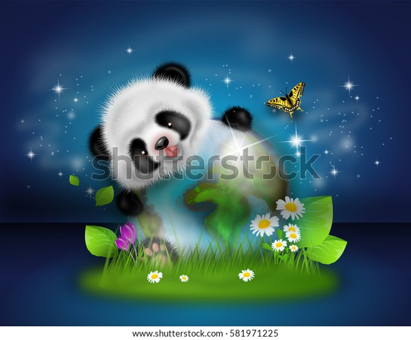 Illustration of cute panda with earth globe decorated with grass and flowers on dark blue starry background