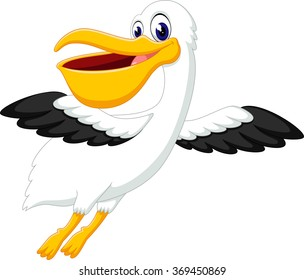 illustration of cute pelican cartoon