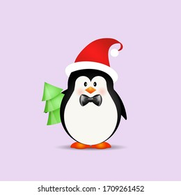 an illustration of cute penguin at Christmas
