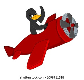 Illustration of a cute penguing pilot flying a red plane and waving, isolated on a white background