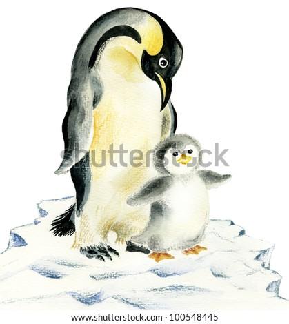 Illustration of cute penguins