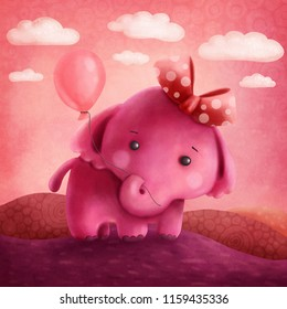 Illustration of a cute pink elephant