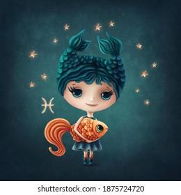 Illustration eines süßen Pisces Girl