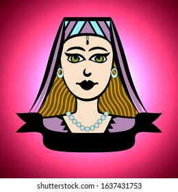 Illustration of a cute princess face on a colorful background with a banner to type any text