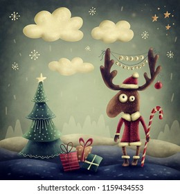 Illustration of a cute reindeer