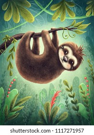 Illustration with a cute sloth