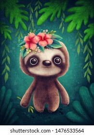 Illustration of a cute sloth