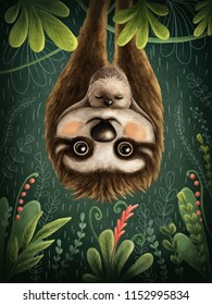 Illustration with a cute sloths