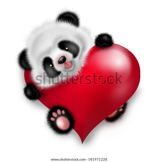 Illustration of cute small panda decorated with red heart