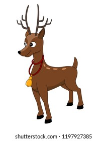 Illustration of a cute smiling reindeer with a bell around his neck, isolated on a white background